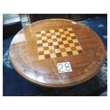 round all wood game table w/ glass top.