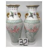"2 chinese vases. 19""."