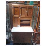 kitchen hoosier cabinet w/ sifter. oak.
