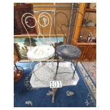 metal base marble top table and 2 twisted metal