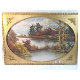 oil painting of lake. signed on back.
