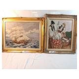 2 framed needlepoint pictures.
