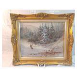 oil painting. hunting scene. signed european
