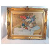 signed painting of flowers and fruit.