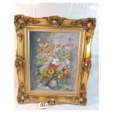 """signed painting of flowers. approx. 27""""x 22"""""""