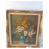 """signed floral oil painting. 29""""x25"""". small tear"""