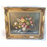 """signed floral oil painting. approx. 40""""x 33"""""""