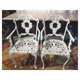 2 heavy iron patio chairs