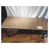 "marble top table. 31"" high, 70"" long, 27""deep"
