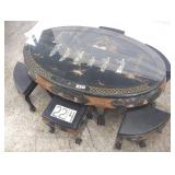 soapstone chinese chow table w/6seats
