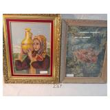 2 needlepoint framed pictures.