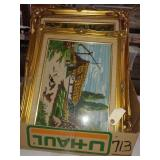 6 framed needlepoint pictures
