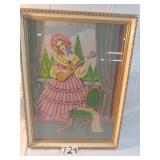 """needlepoint picture. 27""""x 18"""" girl playing guitar."""
