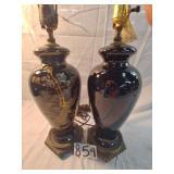 2 black oriental lamps.