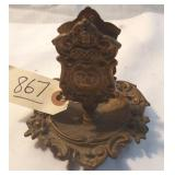 vintage metal ashtray and match holder