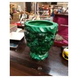 Beautiful Figural Green Glass Vase weighs