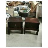 Pair of modern mahogany end tables