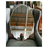 Oval beveled wall mirror
