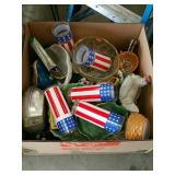 Box of red white and blue glasses excetera