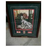 Frame postal stamps Dalmatians and Fire House