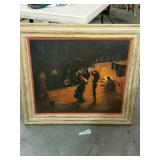 Oil painting of people dancing 28 x 32