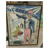Uncle Sam Freedom painting as is 19 x 25