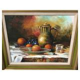 Signed art fruit bowl and pitcher