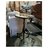 Metal glass top end table