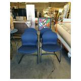 4 blue Knoll office chairs