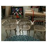 3 metal arm patio chairs