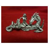Pewter dragon with woman