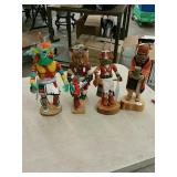 Lot 4 wood carved native figurines