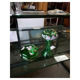 Pair of green glass  cover bowl and a flare top