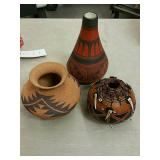Lot of three native Pottery pieces