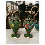 Pair of hand-painted pitchers from Belgium