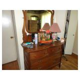 Vintage oak dresser and beveled mirror