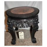 Oriental Short Stool w/ marble inlaid top