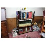 Book case, night stand, contents