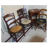 Three Antique chairs and stand