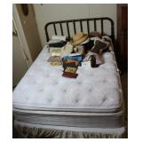 Bed, headboard, mattress and hats/handbags
