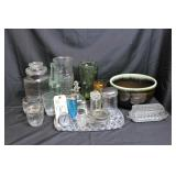 pottery, crystal, various glassware