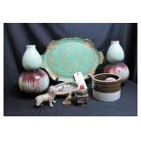 Wooden bowl, small crock, pottery pieces