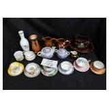Japanes tea pots, bone china saucers and cups