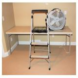 Folding Table, Step Ladder, Wind Machine