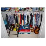Boys closet of clothes and toys