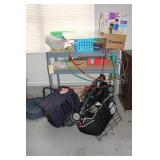 Shop bench, coolers, stroller, misc.