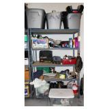 Metal Shelving Unit and contents