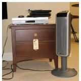Ethan Allen two drawer stand, heater, DVD player