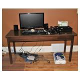Desk, HP Monitor, keyboard, speakers, etc