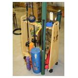 Rolling Rod Stand with Rods and Reels